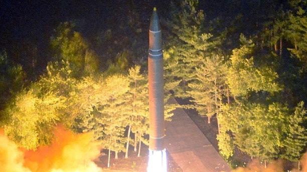 Intercontinental ballistic missile (ICBM) Hwasong-14 is pictured during its second test-fire in this undated picture provided by KCNA in Pyongyang on July 29, 2017. KCNA via Reuters ATTENTION EDITORS - THIS IMAGE WAS PROVIDED BY A THIRD PARTY. REUTERS IS UNABLE TO INDEPENDENTLY VERIFY THIS IMAGE. SOUTH KOREA OUT. NO THIRD PARTY SALES. NOT FOR USE BY REUTERS THIRD PARTY DISTRIBUTORS.Ê - RC14FE3DA2C0