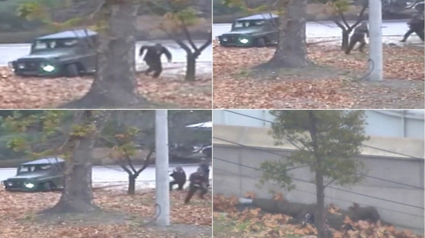 This combination of images made from Nov. 13, 2017, surveillance video released by the United Nations Command shows a North Korean soldier running from a jeep and then shot by North Korean soldiers in Panmunjom, North Korea, before collapsing across the border in South Korea. A North Korean soldier made a desperate dash to freedom in a jeep and then on foot, being shot at least five times as he limped across the border and was rescued by South Korean soldiers, according to dramatic video released by the U.S.-led U.N. command Wednesday, Nov. 22, 2017. (United Nations Command via AP, File)