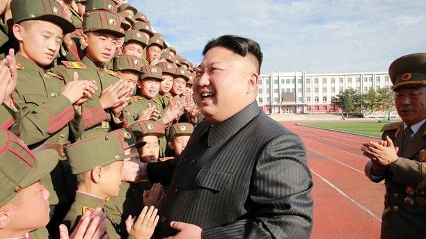 North Korea's leader Kim Jong Un visits the Mangyongdae Revolutionary Academy on its 70th anniversary, in this undated photo released by North Korea's Korean Central News Agency (KCNA) in Pyongyang October 13, 2017. REUTERS/KCNA   ATTENTION EDITORS - THIS PICTURE WAS PROVIDED BY A THIRD PARTY. REUTERS IS UNABLE TO INDEPENDENTLY VERIFY THE AUTHENTICITY, CONTENT, LOCATION OR DATE OF THIS IMAGE. NOT FOR SALE FOR MARKETING OR ADVERTISING CAMPAIGNS. NO THIRD PARTY SALES. NOT FOR USE BY REUTERS THIRD PARTY DISTRIBUTORS. SOUTH KOREA OUT. NO COMMERCIAL OR EDITORIAL SALES IN SOUTH KOREA. THIS PICTURE IS DISTRIBUTED EXACTLY AS RECEIVED BY REUTERS, AS A SERVICE TO CLIENTS. - RC199DA7C990