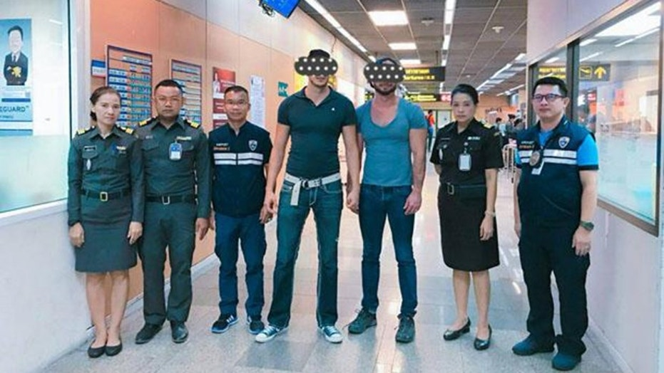 Joseph and Travis DaSilva, both 38 of San Diego, California, were arrested in Thailand for sharing a photo of themselves exposing their naked backsides at two famous Bangkok temple.