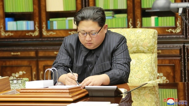 North Korea's leader Kim Jong Un is seen in this undated photo released by North Korea's Korean Central News Agency (KCNA) in Pyongyang, North Korea on November 29, 2017. KCNA via REUTERS. ATTENTION EDITORS - THIS IMAGE WAS PROVIDED BY A THIRD PARTY. REUTERS IS UNABLE TO INDEPENDENTLY VERIFY THIS IMAGE. SOUTH KOREA OUT. NO THIRD PARTY SALES. NOT FOR USE BY REUTERS THIRD PARTY DISTRIBUTORS - RC15DA0765F0