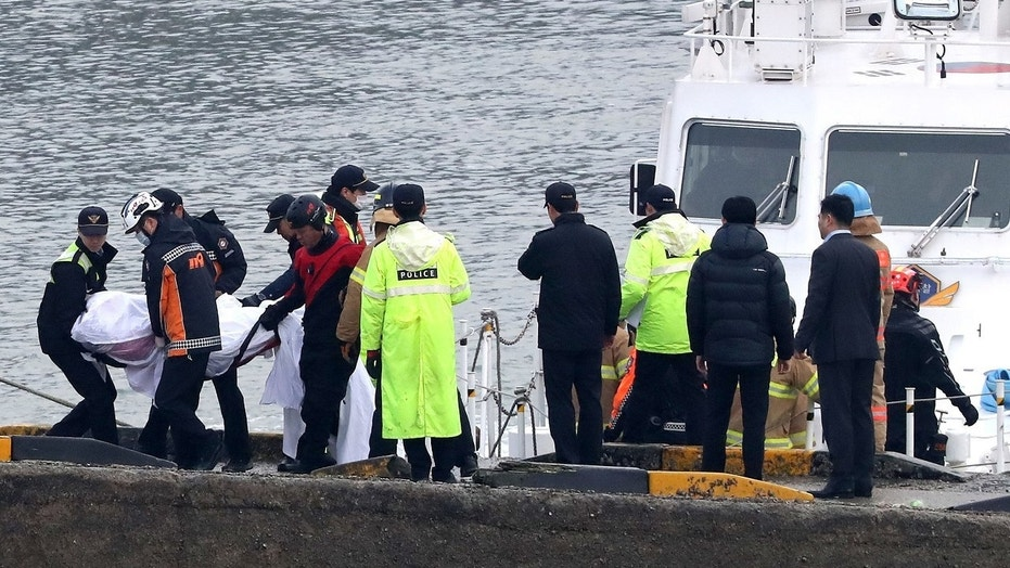 At least 13 people are dead and another two others are missing after a fishing boat capsized in South Korea on Sunday.