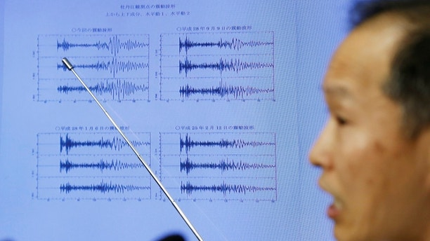 Japan Meteorological Agency's earthquake and tsunami observations division director Toshiyuki Matsumori points at graphs of ground motion waveform data observed in Japan during a news conference at the Japan Meteorological Agency in Tokyo, Japan, September 3, 2017, following the earthquake felt in North Korea and believed to be a nuclear test. REUTERS/Toru Hanai - RC1C780A60D0