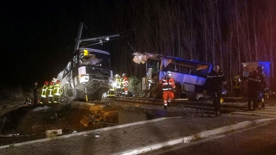 French authorities say at least four students were killed when a school bus was hit by a train.