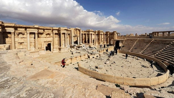 A general view shows damage in the amphitheater of the historic city of Palmyra, Syria March 4, 2017. REUTERS/Omar Sanadiki - RC18CF5A2750