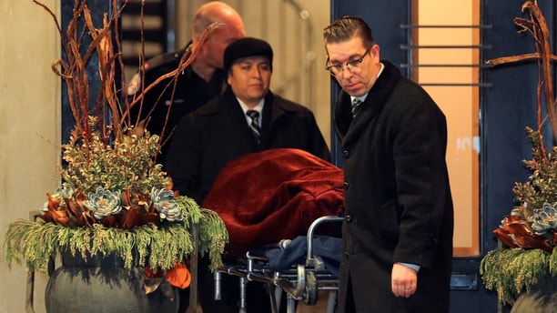 "One of two bodies is removed from the home of billionaire founder of Canadian pharmaceutical firm Apotex Inc., Barry Sherman and his wife Honey, who were found dead under circumstances that police described as ""suspicious"" in Toronto, Ontario, Canada, December 15, 2017. REUTERS/Chris Helgren - RC15316AAE10"