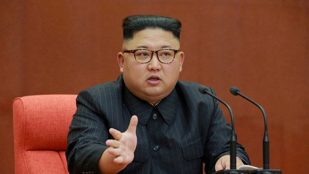 FILE PHOTO: North Korean leader Kim Jong Un speaks during the Second Plenum of the 7th Central Committee of the Workers' Party of Korea (WPK) at the Kumsusan Palace of the Sun, in this undated photo released by North Korea's Korean Central News Agency (KCNA) in Pyongyang October 8, 2017. KCNA/via REUTERS.    ATTENTION EDITORS - THIS IMAGE WAS PROVIDED BY A THIRD PARTY.   REUTERS IS UNABLE TO INDEPENDENTLY VERIFY THIS IMAGE. NO THIRD PARTY SALES. SOUTH KOREA OUT/File Photo - RC15F23BC720