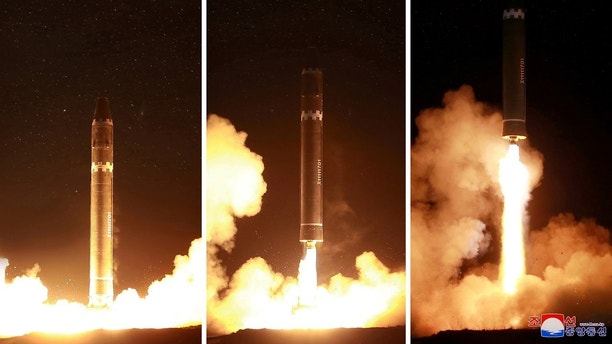 A view of the newly developed intercontinental ballistic rocket Hwasong-15's test was successfully launched is seen in this undated