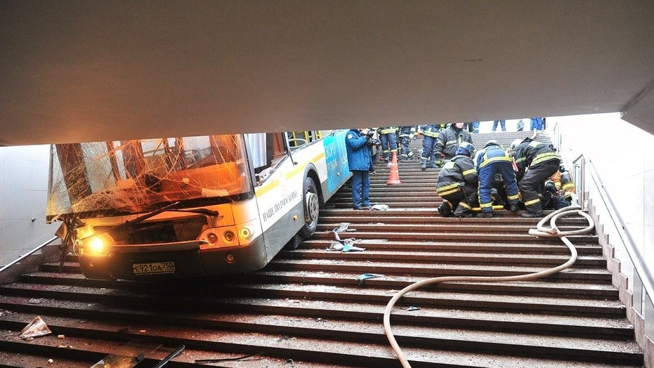 Bus plunges into Moscow pedestrian underpass