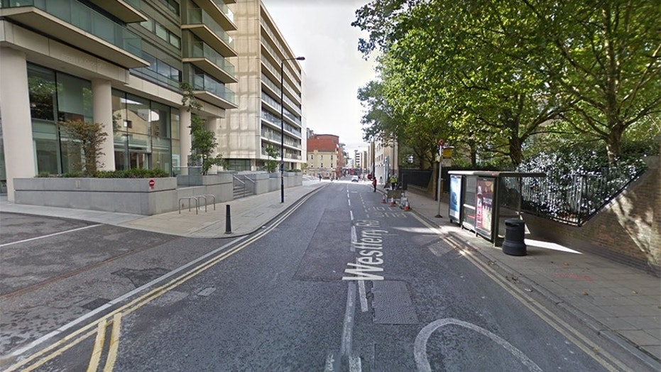 Google street view of Westferry Road in London where a woman was attacked with acid.
