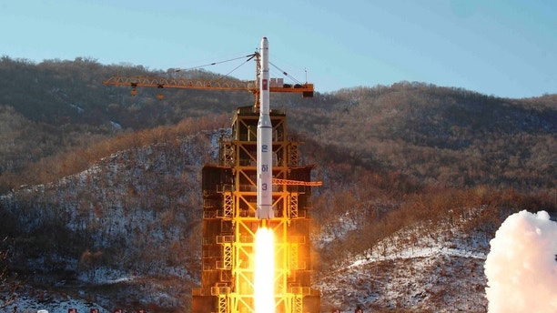 The Unha-3 (Milky Way 3) rocket carrying the second version of Kwangmyongsong-3 satellite, is launched at West Sea Satellite Launch Site in Cholsan county, North Pyongan province, December 12, 2012 in this picture released by the North's KCNA news agency in Pyongyang early December 14, 2012. REUTERS/KCNA (NORTH KOREA - Tags: POLITICS SCIENCE TECHNOLOGY MILITARY) THIS IMAGE HAS BEEN SUPPLIED BY A THIRD PARTY. IT IS DISTRIBUTED, EXACTLY AS RECEIVED BY REUTERS, AS A SERVICE TO CLIENTS. NO THIRD PARTY SALES. NOT FOR USE BY REUTERS THIRD PARTY DISTRIBUTORS - GM1E8CE09KB01