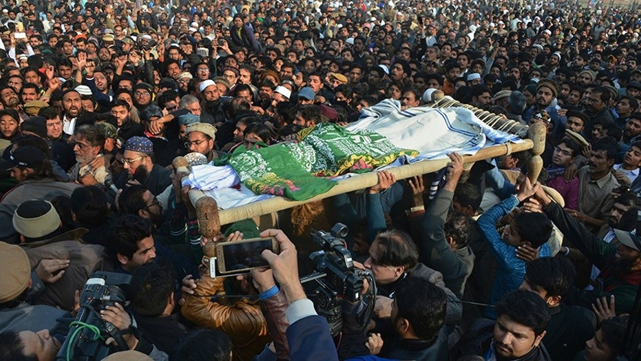 Jan. 10, 2018: People attend a funeral of a Pakistani girl who was raped and killed, in Kasur, Pakistan.