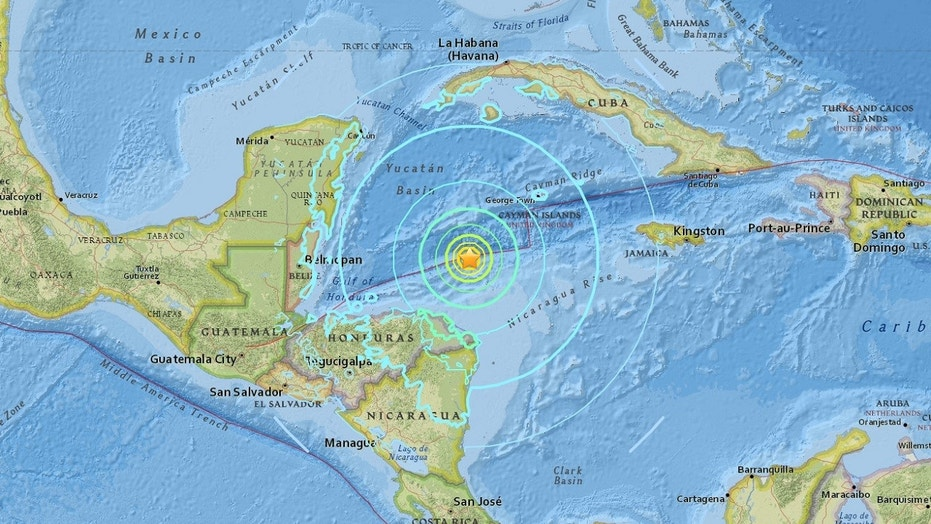 A magnitude 7.6 earthquake struck in the Caribbean Sea between the coast of Honduras and the Cayman Islands on Tuesday night.