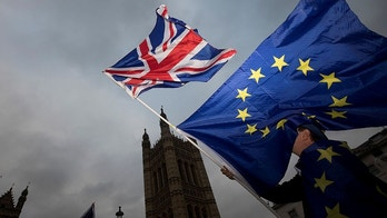 An Anti-Brexit protestor waves EU and Union flags outside the Houses of Parliament in London, Britain December 5, 2017. REUTERS/Simon Dawson - RC1E40427C30