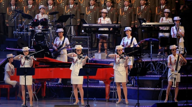 The Moranbong Band, an all-female North Korean pop band formed by leader Kim Jong Un, performs at a celebratory concert marking the end of the 7th Workers' Party Congress in Pyongyang, North Korea May 11, 2016.  REUTERS/Damir Sagolj - S1BETDLDCMAB