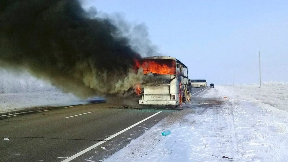 Jan. 18: A bus burns on a road in near the village of Kalybai in Kazakhstan. Dozens dies in the fire.