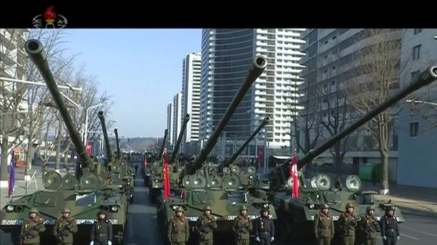 In this image made from video by North Korea's KRT, military tanks are seen during a parade in Pyongyang, North Korea Thursday, Feb. 8, 2018. North Korea held a military parade and rally on Kim Il Sung Square on Thursday, just one day before South Korea hosts the opening ceremony of the Pyeongchang Winter Olympics. (KRT via AP Video)