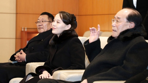 Kim Yo Jong, center, sister of North Korean leader Kim Jong Un, sits with Kim Yong Nam, North Korea's nominal head of state, and Choe Hwi, left, chairman of the North Korea's National Sports Guidance Committee, at the Incheon International Airport in Incheon, South Korea, Feb. 9, 2018. Kim on Friday became the first member of her family to visit South Korea since the 1950-53 Korean War as part of a high-level delegation attending the opening ceremony of the Pyeongchang Winter Olympics. (Kim Ju-hyungl/Yonhap via AP)