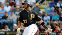 Mar 6, 2017; Bradenton, FL, USA; Pittsburgh Pirates catcher Elias Diaz (32) hits a RBI single during the fifth inning against the New York Yankees at Lecom Park. Mandatory Credit: Kim Klement-USA TODAY Sports - 9922842