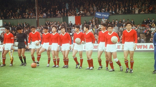 July 19, 1966 - North Korea 1-0 Italy, World Cup Football, Group 4 match, at Ayresome Park, Middlesbrough, 19th July 1966. North Korean line-up  (Credit Image: © Syndication International/Mirrorpix/Newscom via ZUMA Press)