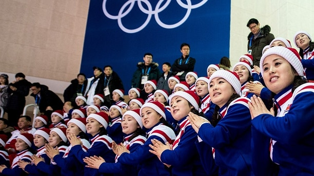 February 12, 2018 - Pyeongchang, South Korea - 180212 North Korean cheer team during the Women's Ice Hockey Preliminary Round match between Sweden and Korea during day three of the 2018 Winter Olympics on February 12, 2018 in Pyeongchang..Photo: Petter Arvidson / BILDBYRÃ…N / kod PA / 91962 (Credit Image: © Petter Arvidson/Bildbyran via ZUMA Press)