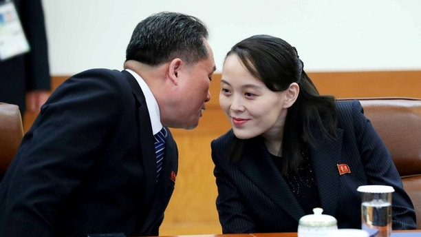 Ri Son-kwon, chairman of the Committee for the Peaceful Reunification of the Fatherland, whispers to Kim Yo Jong, the sister of North Korea's leader Kim Jong Un, before their meeting at the Presidential Blue House in Seoul, South Korea, February 10, 2018.   Yonhap via REUTERS   ATTENTION EDITORS - THIS IMAGE HAS BEEN SUPPLIED BY A THIRD PARTY. SOUTH KOREA OUT. NO RESALES. NO ARCHIVE. - RC1C76D6B970