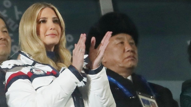 Pyeongchang 2018 Winter Olympics - Closing ceremony - Pyeongchang Olympic Stadium - Pyeongchang, South Korea - February 25, 2018 - Ivanka Trump, U.S. President Donald Trump's daughter and senior White House adviser, and Kim Yong Chol of the North Korea delegation attend the closing ceremony. REUTERS/Lucy Nicholson     TPX IMAGES OF THE DAY - RC1EA1DCB880