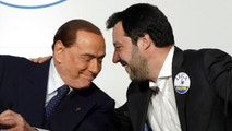 Forza Italia's Silvio Berlusconi, left, and League's Matteo Salvini take part to a media event for center-right leaders ahead of the March 4 general elections, in Rome, Thursday, March 1, 2018. (AP Photo/Andrew Medichini)