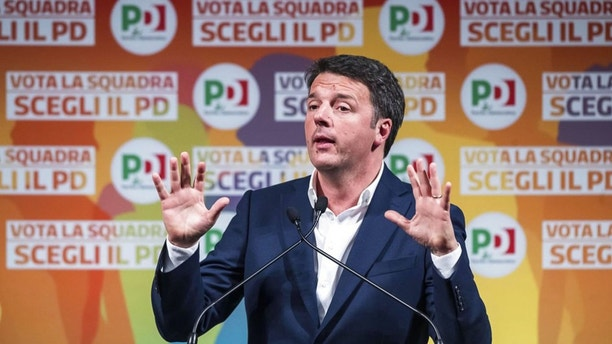 Democratic Party (PD) leader Matteo Renzi attends the launch of the electoral campaign of his party in Rome, Italy, Monday, Feb. 5, 2018. Renzi said Monday that the centre-left group should focus on trying to win next month's general election rather than thinking about the possibilities if the outcome is inconclusive. (Angelo Carconi/ANSA via AP)