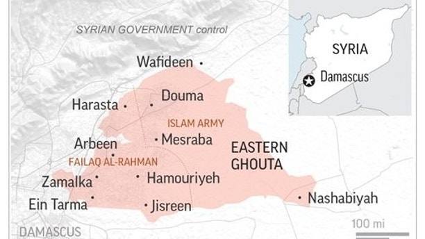 Map of eastern Ghouta, Syria.; 2c x 2 1/2 inches; 96.3 mm x 63 mm;