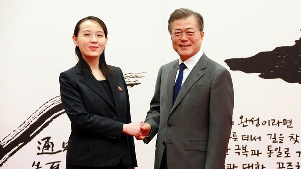 South Korean President Moon Jae-in shakes hands with Kim Yo Jong, the sister of North Korea's leader Kim Jong Un, in Seoul, South Korea in this undated photo released by North Korea's Korean Central News Agency (KCNA) February 10, 2018. KCNA/via REUTERS ATTENTION EDITORS - THIS PICTURE WAS PROVIDED BY A THIRD PARTY. REUTERS IS UNABLE TO INDEPENDENTLY VERIFY THE AUTHENTICITY, CONTENT, LOCATION OR DATE OF THIS IMAGE. NO THIRD PARTY SALES. NOT FOR USE BY REUTERS THIRD PARTY DISTRIBUTORS. SOUTH KOREA OUT. - RC1620933490