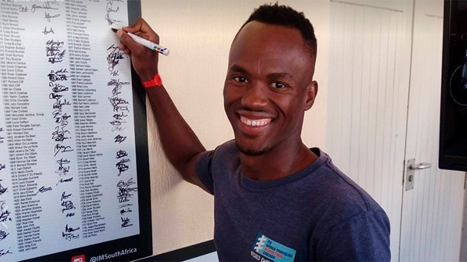 South African triathlete Mhlengi Gwala, 27, was out cycling when three men attacked him and attempted to saw off his legs.