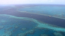 In this image made from Thursday, March 22, 2018, video, an aerial view shows boats a the scene of a helicopter crash at the Great Barrier Reef in Queensland, Australia. Two Americans were killed and two injured when a helicopter crashed on Australia's Great Barrier Reef. Whitsunday Air Services suspended operations as it works with authorities to determine the cause of the crash. (Channel 9 via AP)