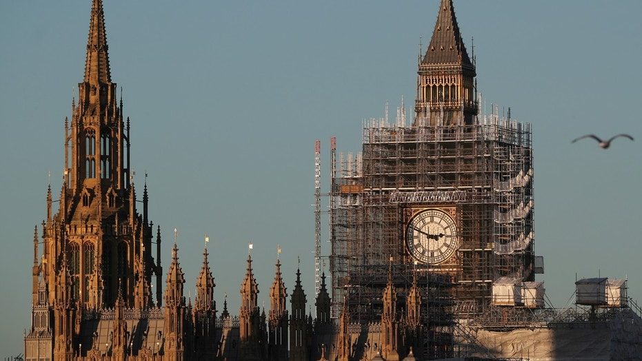 The Big Ben clocktower is surrounded in scaffolding in London, December 28, 2017.