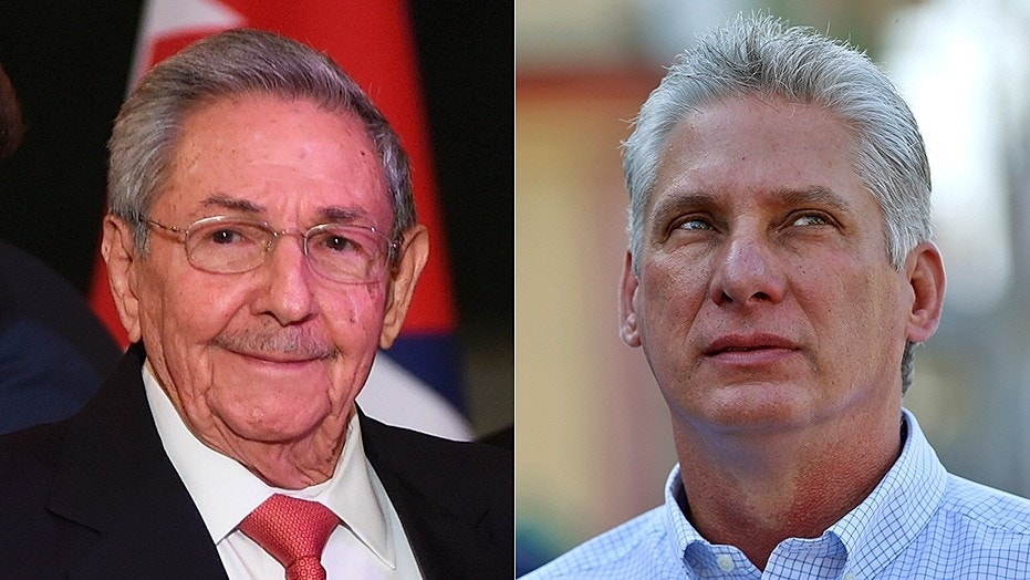 Cuban leader Raul Castro, left; his expected successor, Miguel Diaz-Canel, right.