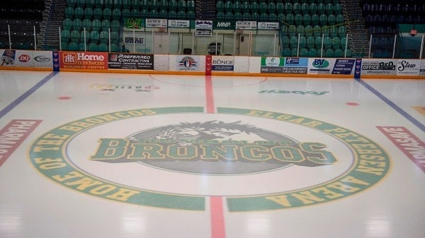 This Saturday, April 7, 2018 photo shows Elgar Petersen Arena, home of the Humboldt Broncos, in Humboldt, Saskatchewan, Canada,  Saturday, April 7, 2018. Canadian police said early Saturday that several people were killed and others injured after a truck collided with a bus carrying the junior hockey team to a playoff game in Western Canada. Police say there were 28 people, including the driver, on board the bus of the Humboldt Broncos team when the crash occurred around 5 p.m. Friday on Highway 35 in Saskatchewan.   (Liam Richards/The Canadian Press via AP)