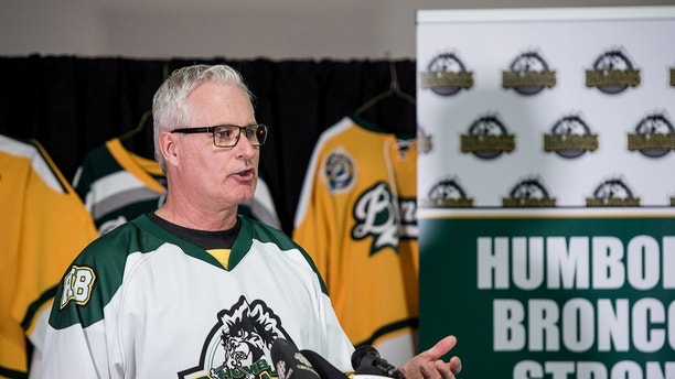 Mayor of Humboldt Rob Muench speaks with members of the community and media during a press at the Elgar Petersen Arena in Humboldt Saskatchewan, Canada April 7, 2018.  REUTERS/Matt Smith - RC1F164D7E10