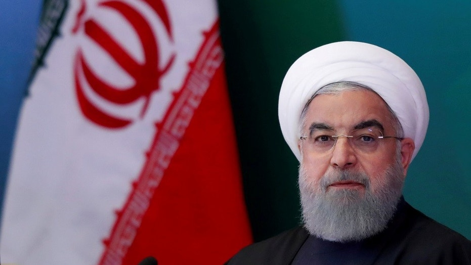 In this February 2018 photo, Iranian President Hassan Rouhani attends a meeting with Muslim leaders in Hyderabad, India. In a televised speech Wednesday, President Rouhani declared Iran would seek weapons for self-defense but poses no threat to its neighbors.