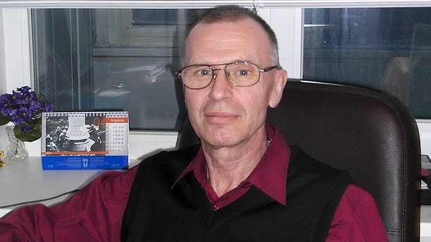 In this handout photo taken on May, 2011 by Russian chemical experts Vladimir Uglev poses for a photograph at an undisclosed location. Uglev told The Associated Press said he was the scientist who in 1975 first synthesized A-234 _ an odorless liquid deadlier than any other chemical weapons that existed at the time, that apparently turned up in an English town and nearly killed a former Russian spy and his daughter. (Vladimir Uglev via AP)