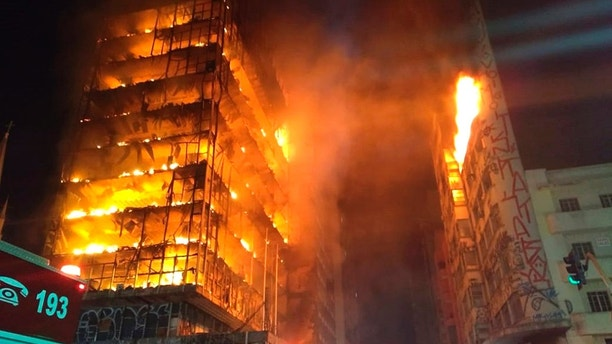Fire causes partial collapse of high rise building in Brazil