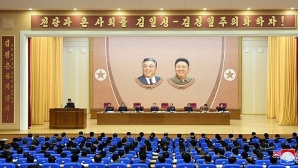 A view shows a plenary session of party, national, economic, and military organizations to carry out the party's new strategic route proposed by North Korean leader Kim Jong Un at the Third Plenary Session of the 7th Party Central Committee of the Workers' Party of Korea (WPK) in this photo released by North Korea's Korean Central News Agency (KCNA) in Pyongyang on May 1, 2018.   KCNA/via REUTERS   ATTENTION EDITORS - THIS PICTURE WAS PROVIDED BY A THIRD PARTY. REUTERS IS UNABLE TO INDEPENDENTLY VERIFY THE AUTHENTICITY, CONTENT, LOCATION OR DATE OF THIS IMAGE. THIS PICTURE IS DISTRIBUTED EXACTLY AS RECEIVED BY REUTERS, AS A SERVICE TO CLIENTS. NO THIRD PARTY SALES. NOT FOR USE BY REUTERS THIRD PARTY DISTRIBUTORS. SOUTH KOREA OUT. NO COMMERCIAL OR EDITORIAL SALES IN SOUTH KOREA. - RC19F0707200
