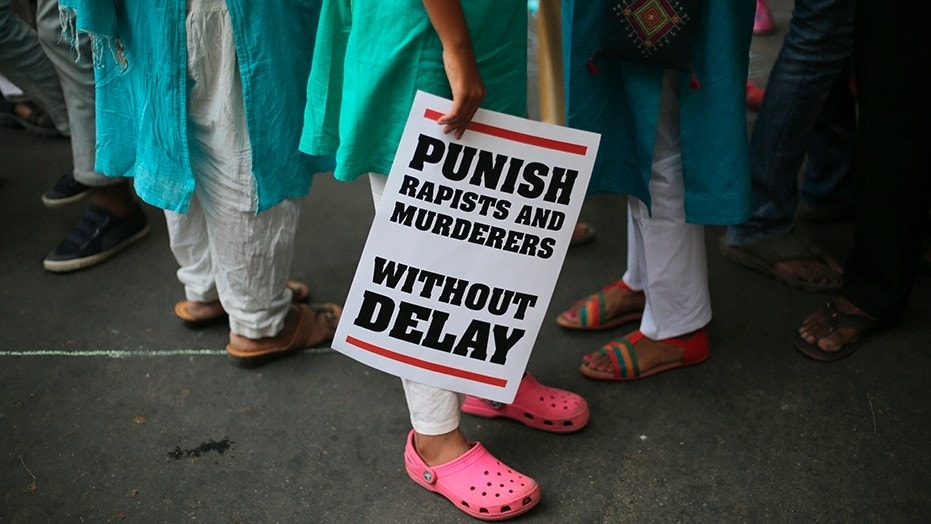 An Indian protester at an April protest in New Delhi against two recently reported rape cases.