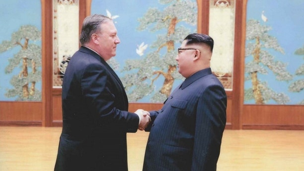 A U.S. government handout photo released by White House Press Secretary Sarah Huckabee Sanders shows U.S. Central Intelligence (CIA) Director Mike Pompeo meeting with North Korean leader Kim Jong Un in Pyongyang, North Korea in a photo that Sanders said was taken over Easter weekend 2018.  U.S. Government via REUTERS   ATTENTION EDITORS - THIS PICTURE WAS PROVIDED BY A THIRD PARTY - RC1420B37790