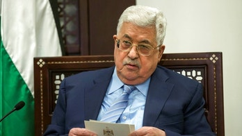 FILE - In this Jan. 31, 2018 file photo, Palestinian President Mahmoud Abbas meets with German Foreign Minister Sigmar Gabriel, in the West Bank town of Ramallah. A Palestinian official said Sunday, May 20, 2018, that the 83-year-old Abbas has been hospitalized with fever. Abbas, a heavy smoker, has a long history of health issues. He has not designated a successor. (Atef Safadi/Pool Photo via AP, File)