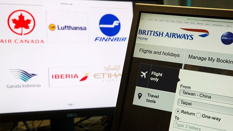 "May 21, 2018: A computer screens display the booking website of British Airways showing ""Taiwan-China"" in Beijing, China."