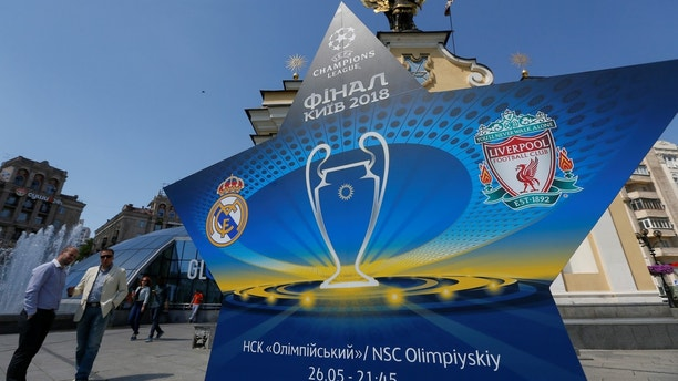 the logo of the Champions League Final is seen at the Independence Square in Kiev, Ukraine, May 10, 2018. Picture taken May 10, 2018.  REUTERS/Valentyn Ogirenko - RC1B78D0CD40