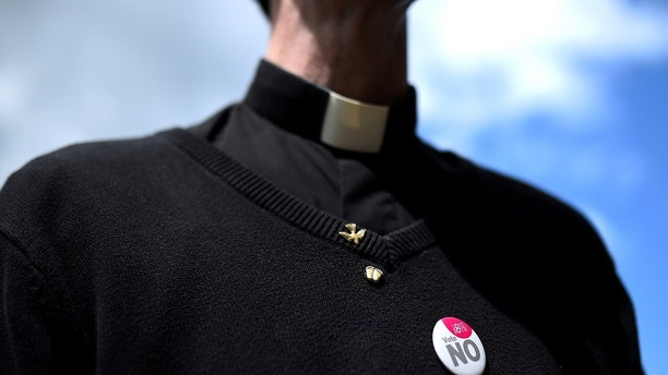 Fr. Peter O'Kane from Belfast takes part in a 'Pro-Life' rally, ahead of a May 25 referendum on abortion law, in the centre of Dublin, Ireland, May 12, 2018. REUTERS/Clodagh Kilcoyne - RC111E7D3EE0