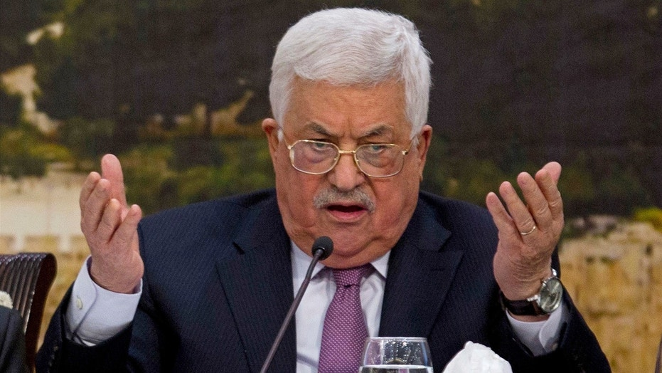 Palestinian President Mahmoud Abbas speaks during a meeting with the Palestinian Central Council in the West Bank city of Ramallah, Jan. 14, 2018.
