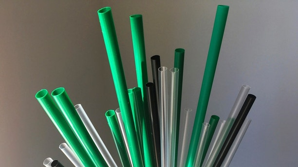 FILE- This May 23, 2018, file photo shows plastic drinking straws in New York. The European Union is proposing bans on plastic products like cotton buds, straws, stirs and balloon sticks when alternatives are easily available in an attempt to cut marine litter. (AP Photo/Barbara Woike, File)