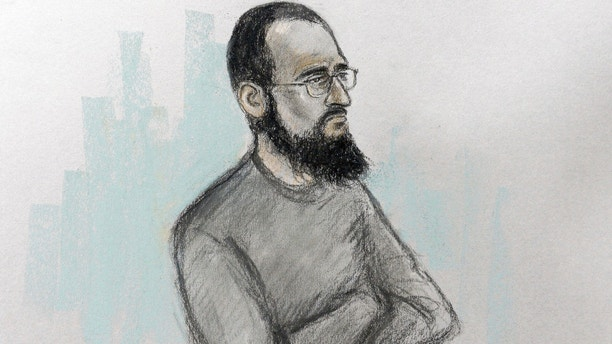FILE  - This is an undated court artist sketch file photo by Elizabeth Cook showing Husnain Rashid during his trial. An alleged supporter of the Islamic State group accused of encouraging attacks on 4-year-old Prince George has changed his plea from innocent to guilty. The decision  brought his trial in London to a dramatic halt on Thursday, May 31, 2018. (Elizabeth Cook/PA via AP, File)